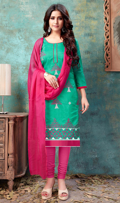Cotton Green Color Embroidered Churidar Dress