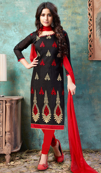 Black Color Embroidered Cotton Churidar Kameez