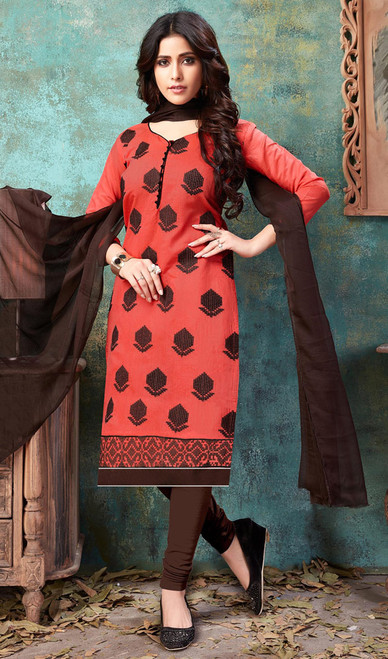 Churidar Suit in Peach Color Embroidered Cotton