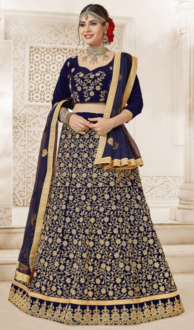 Navy Blue Color Velvet Embroidered Choli Skirt
