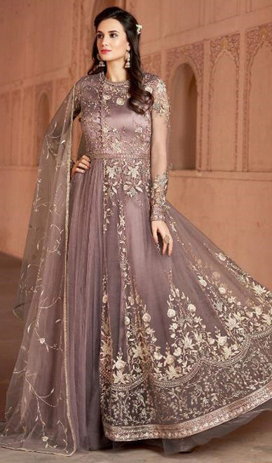 Embroidered Net Anarkali Pink Color Suit