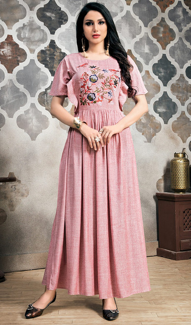 Pink Color Rayon Embroidered Long Tunic