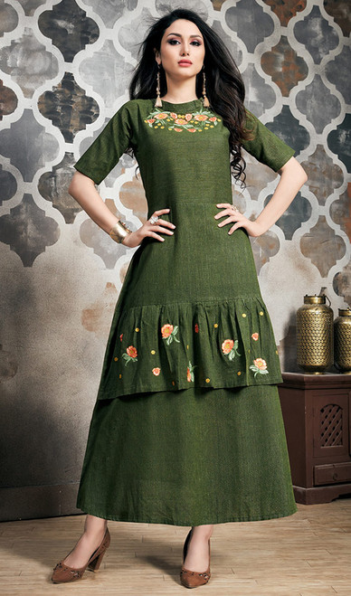 Green Color Embroidered Rayon Designer Tunic