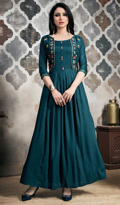 Blue Color Rayon Embroidered Long Tunic