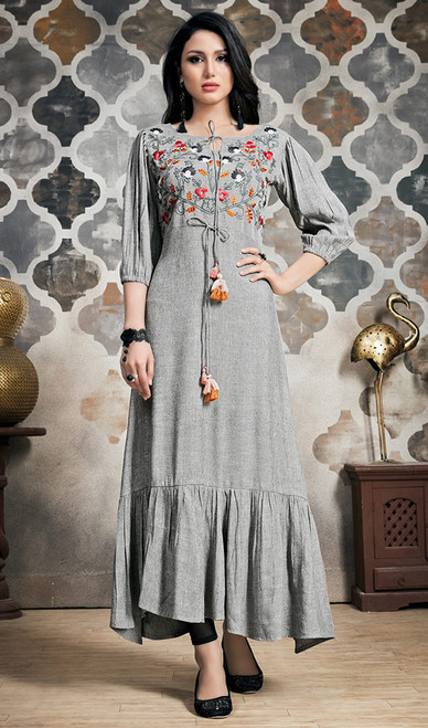 Rayon Tunic in Gray Color Shaded
