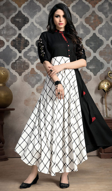 Black and White Color Shaded Rayon Long Tunic