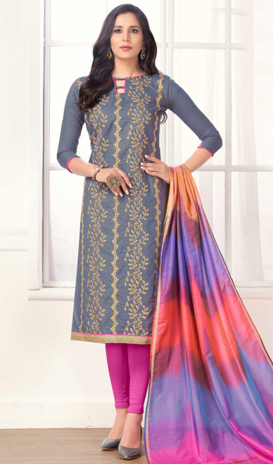 Embroidered Cotton Gray Color Churidar Dress
