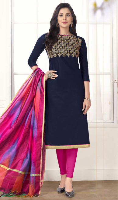 Black Color Cotton Embroidered Churidar Kameez