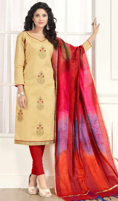 Cream Color Embroidered Cotton Churidar Suit