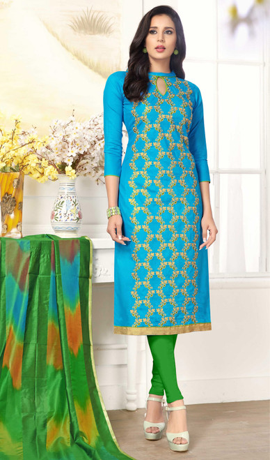 Sky Blue Color Shaded Cotton Churidar Dress