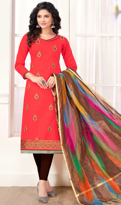 Embroidered Cotton Churidar Kameez in Red Color