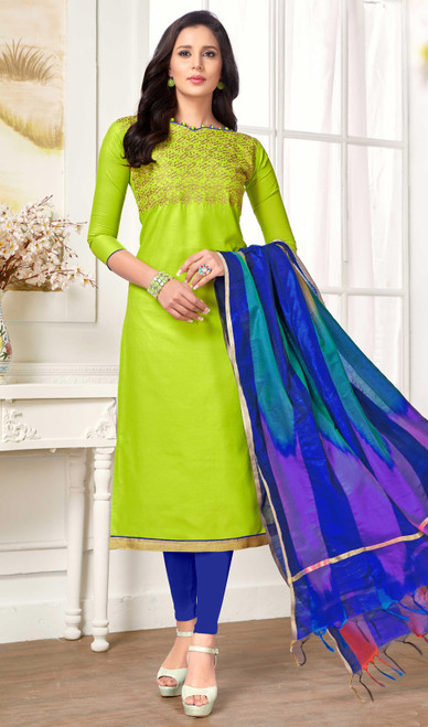 Cotton Embroidered Green Color Churidar Suit
