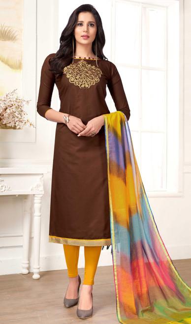 Chocolate Color Shaded Cotton Churidar Dress