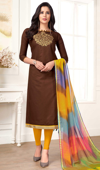 Chocolate Color Shaded Cotton Churidar Dress