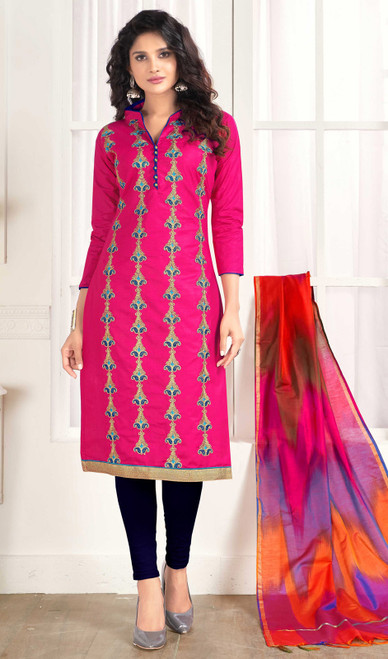 Pink Color Embroidered Cotton Churidar Kameez
