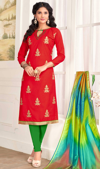 Churidar Kameez in Red Color Embroidered Cotton