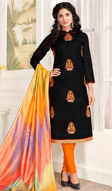 Churidar Suit, Cotton Fabric in Black Color Shaded