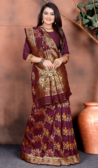Maroon Color Shaded Silk Printed Sari