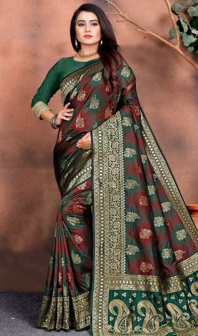 Maroon and Green Color Shaded Silk Sari