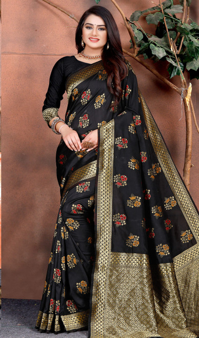 Silk Black Color Shaded Printed Sari