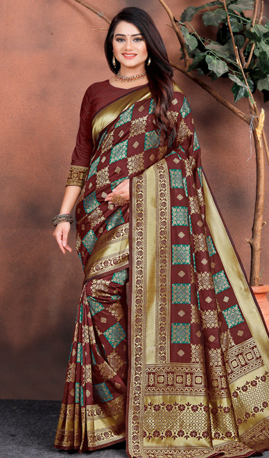 Printed Silk Sari in Chocolate Color Shaded