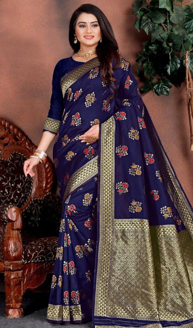 Silk Blue Color Shaded Printed Sari