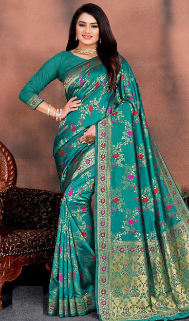 Teal Green Color Shaded Silk Printed Sari