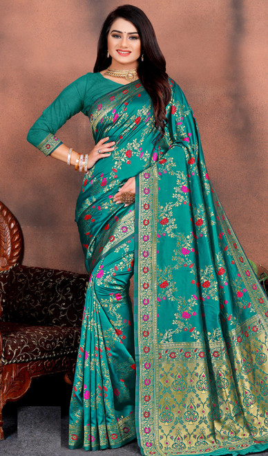 Teal Green Color Shaded Silk Printed Sari