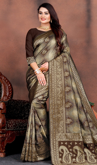 Chocolate Color Shaded Silk Printed Sari