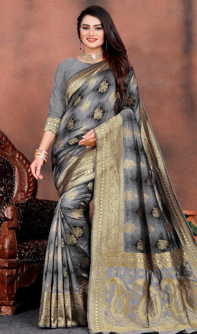 Silk Printed Gray Color Shaded Sari