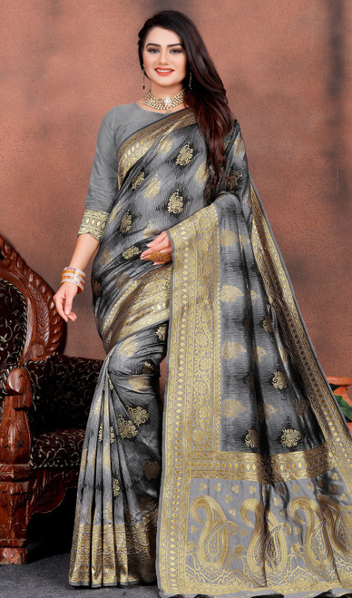 Silk Printed Gray Color Shaded Sari