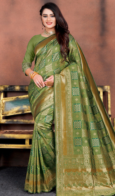 Silk Printed Sari in Green Color Shaded