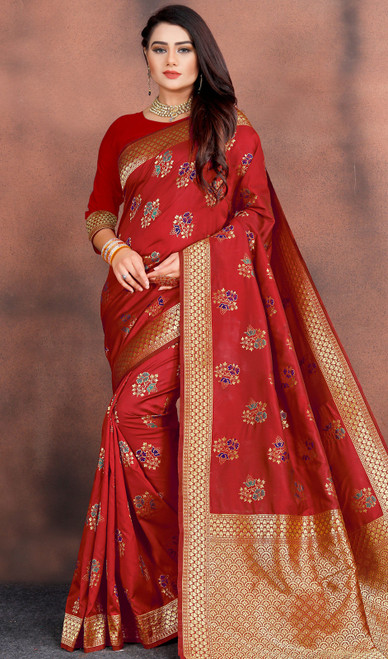 Silk Red Color Shaded Printed Sari