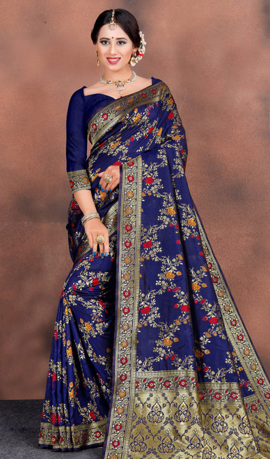 Navy Blue Color Shaded Silk Printed Sari