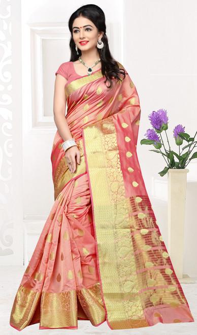 Peach Color Shaded Cotton Sari