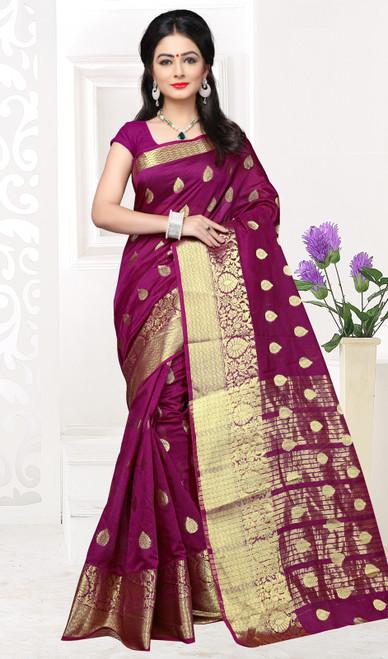 Violet Color Shaded Cotton Sari
