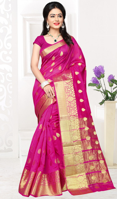 Magenta Color Shaded Cotton Sari