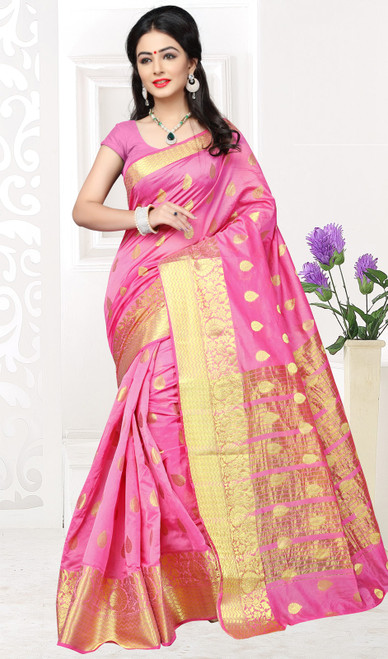 Sari in Pink Color Shaded Cotton