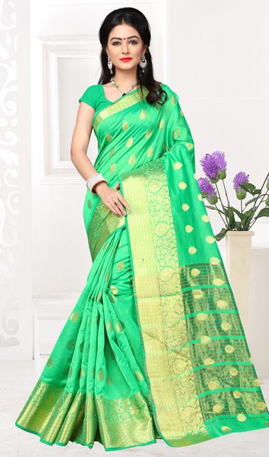 Cotton Green Color Shaded Sari