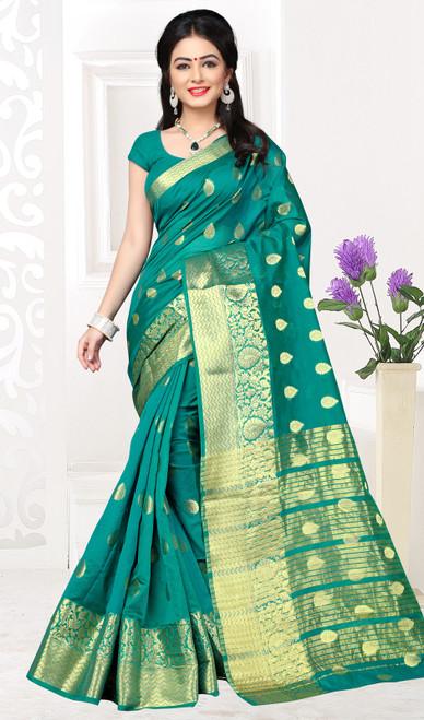 Teal Green Color Shaded Cotton Sari