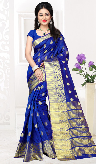 Royal Blue Color Shaded Cotton Sari