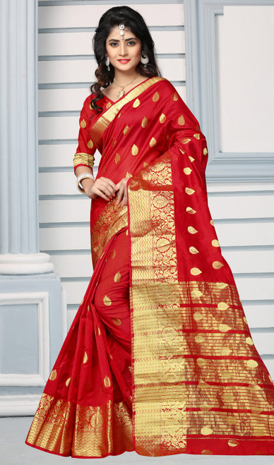 Red Color Shaded Cotton Sari
