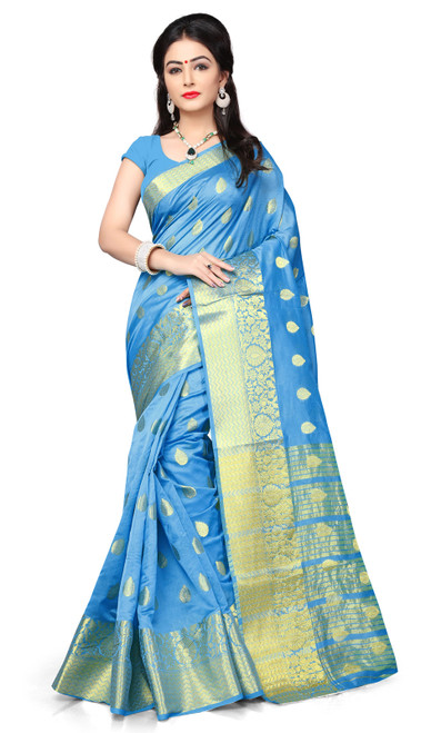 Sky Blue Color Shaded Cotton Sari