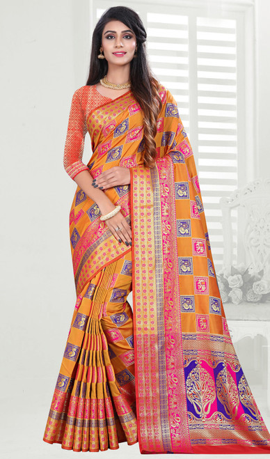 Banarasi Art Silk Sari in Orange Color Shaded
