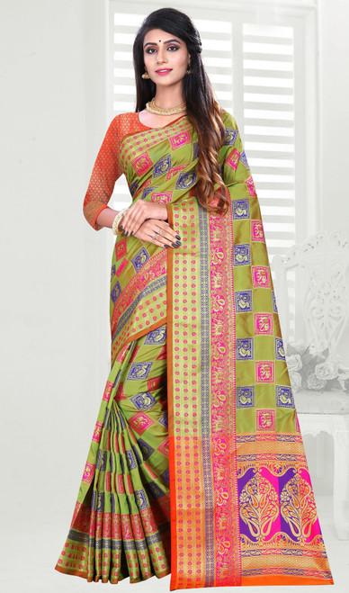 Green Color Shaded Banarasi Art Silk Sari