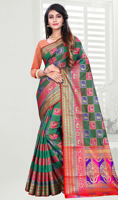 Dark Green Color Shaded Banarasi Art Silk Sari