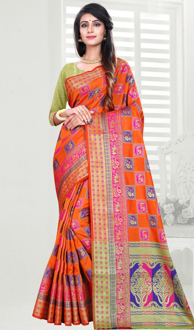 Orange Color Shaded Banarasi Art Silk Sari