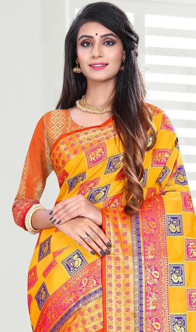 Yellow Color Shaded Banarasi Art Silk Sari