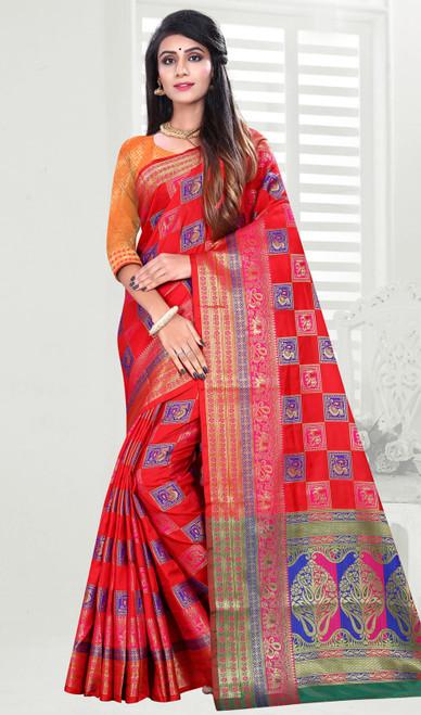 Red Color Shaded Banarasi Art Silk Sari