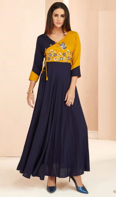 Yellow and Navy Blue Color Rayon Long Tunic